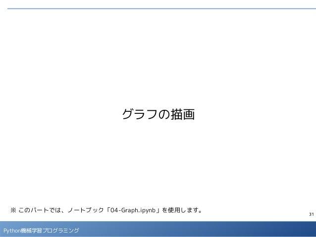 31 Python機械学習プログラミング グラフの描画 ※ このパートでは、ノートブック「04-Graph.ipynb」を使用します。