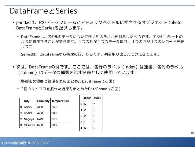 40 Python機械学習プログラミング DataFrameとSeries ■ pandasは、Rのデータフレームとアトミックベクトルに相当するオブジェクトである、 DataFrameとSeriesを提供します。 - DataFrameは、2次...