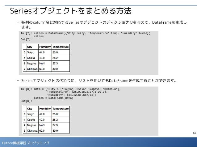 44 Python機械学習プログラミング Seriesオブジェクトをまとめる方法 - 各列のcolumn名と対応するSeriesオブジェクトのディクショナリを与えて、DataFrameを生成し ます。 - Seriesオブジェクトの代わりに、リ...
