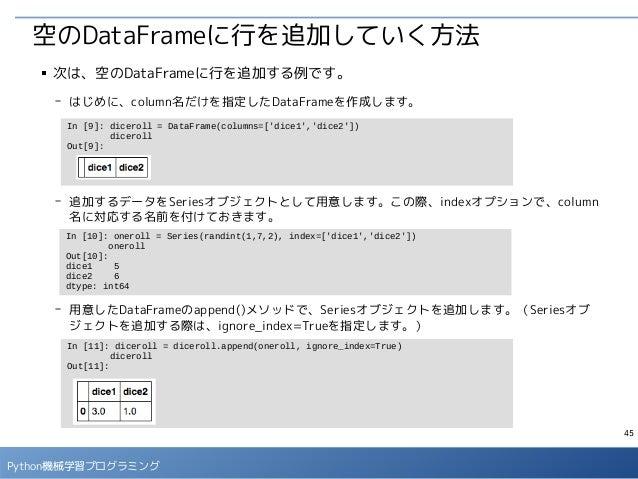 45 Python機械学習プログラミング 空のDataFrameに行を追加していく方法 ■ 次は、空のDataFrameに行を追加する例です。 - はじめに、column名だけを指定したDataFrameを作成します。 - 追加するデータをSe...