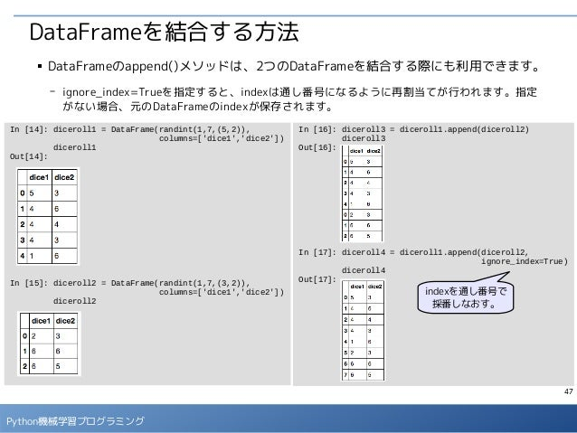 47 Python機械学習プログラミング DataFrameを結合する方法 ■ DataFrameのappend()メソッドは、2つのDataFrameを結合する際にも利用できます。 - ignore_index=Trueを指定すると、inde...