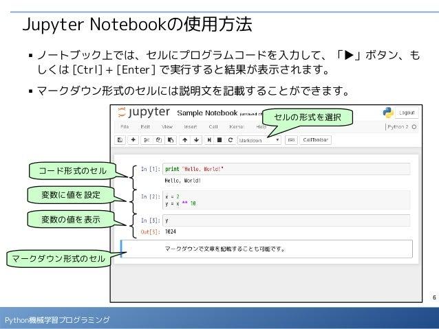 6 Python機械学習プログラミング Jupyter Notebookの使用方法 ■ ノートブック上では、セルにプログラムコードを入力して、「▶」ボタン、も しくは [Ctrl] + [Enter] で実行すると結果が表示されます。 ■ マー...