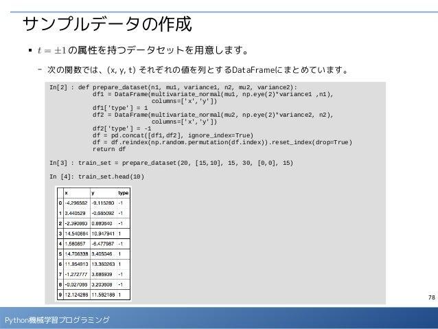 78 Python機械学習プログラミング サンプルデータの作成 ■     の属性を持つデータセットを用意します。 - 次の関数では、(x, y, t) それぞれの値を列とするDataFrameにまとめています。 In[2] : def pre...