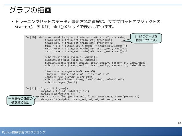 82 Python機械学習プログラミング グラフの描画 ■ トレーニングセットのデータと決定された直線は、サブプロットオブジェクトの scatter()、および、plot()メソッドで表示しています。 In [10]: def show_res...