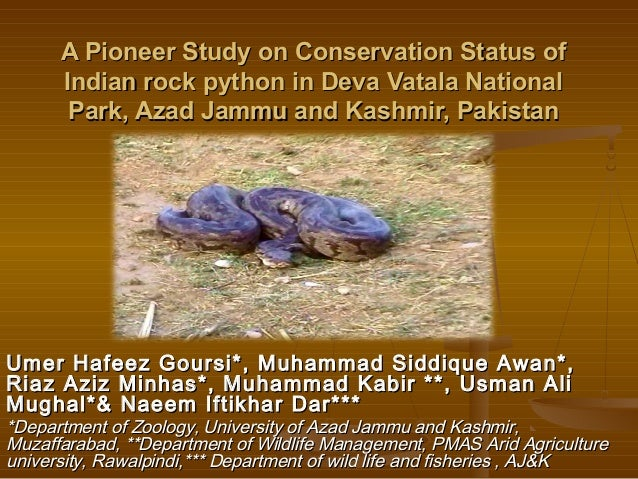 A Pioneer Study on Conservation Status ofA Pioneer Study on Conservation Status ofIndian rock python in Deva Vatala Nation...