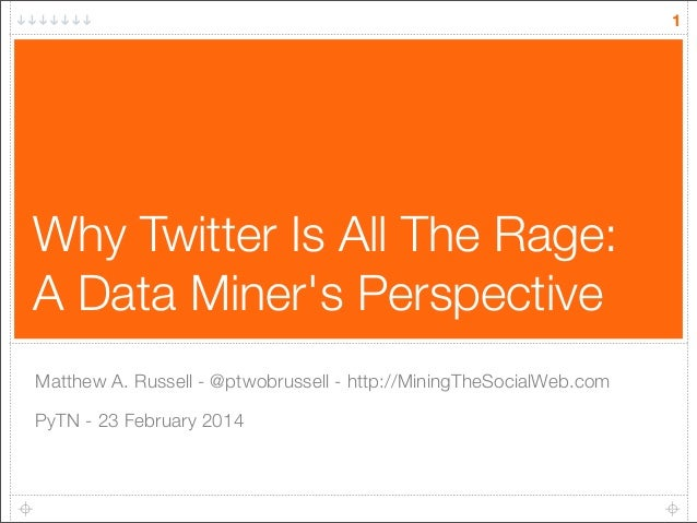 1  Why Twitter Is All The Rage: A Data Miner's Perspective Matthew A. Russell - @ptwobrussell - http://MiningTheSocialWeb....