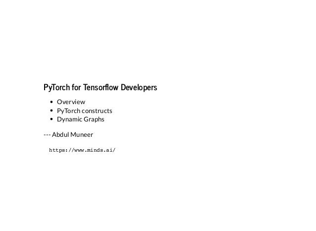 Pytorch for tf_developers