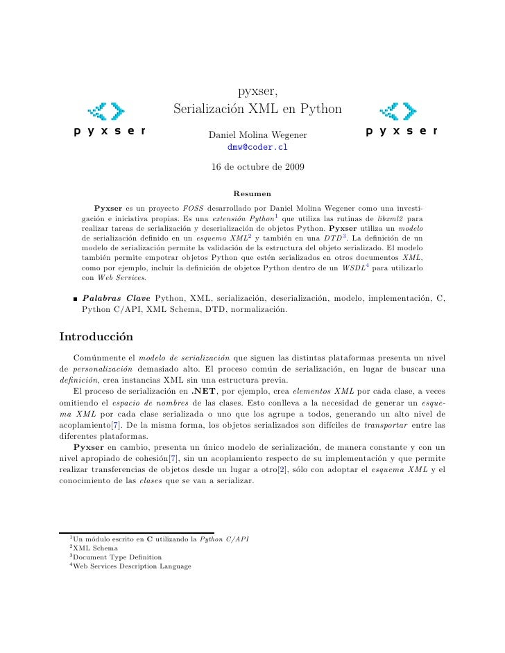 pyxser,                                Serializaci´n XML en Python                                           o            ...