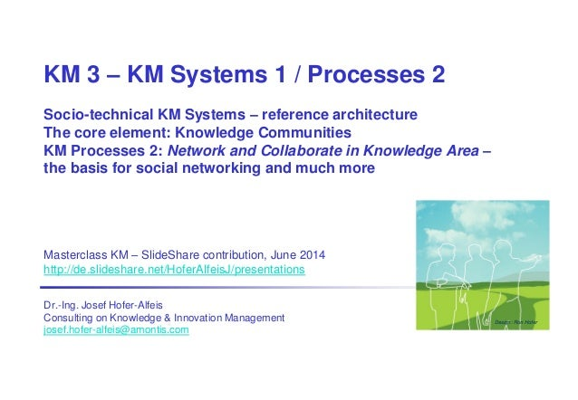 KM 3 – KM Systems 1 / Processes 2 Socio-technical KM Systems – reference architecture The core element: Knowledge Communit...