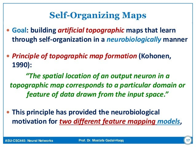 Neural Networks: Self-Organizing Maps (SOM) on maps of classification, maps of development, maps of functions, maps of technology,