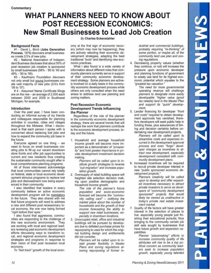 P&Z Planners & Post Recession Economics