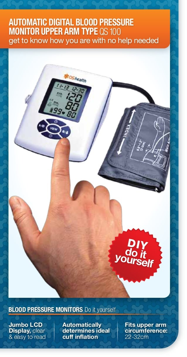 DIYdo ityourselfAUTOMATIC DIGITAL BLOOD PRESSUREMONITOR UPPER ARM TYPEget to know how you are with no help neededQS100Jumb...
