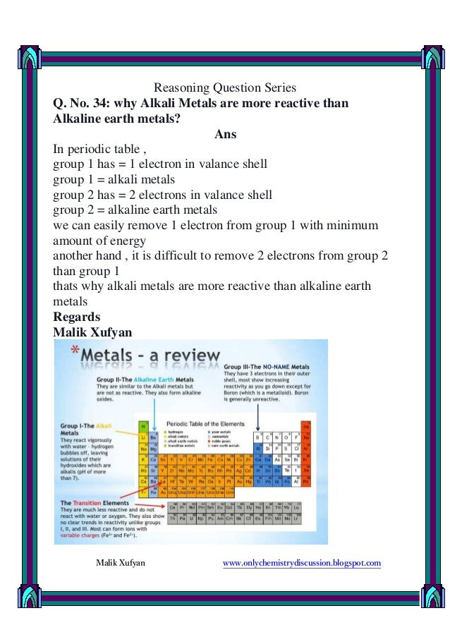 Q no 34 why alkali metals are more reactive than alkaline earth me urtaz