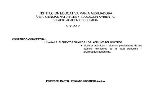 institucin educativa mara auxiliadora rea ciencias naturales y educacin ambiental espacio academico quimica grado