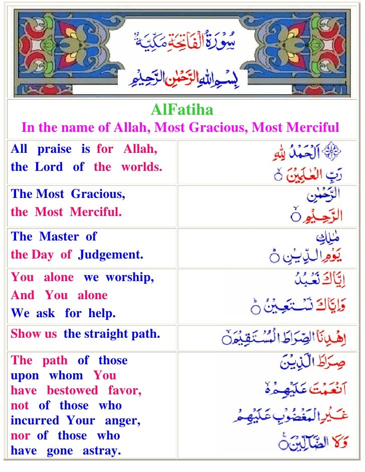 AlFatiha In the name of Allah, Most Gracious, Most MercifulAll praise is for Allah,the Lord of the worlds.The Most Graciou...