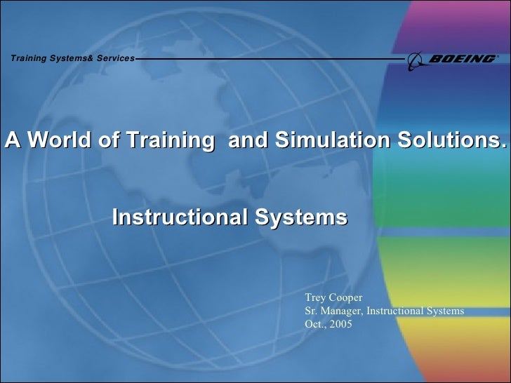 A World of Training  and Simulation Solutions. Instructional Systems Trey Cooper Sr. Manager, Instructional Systems Oct., ...