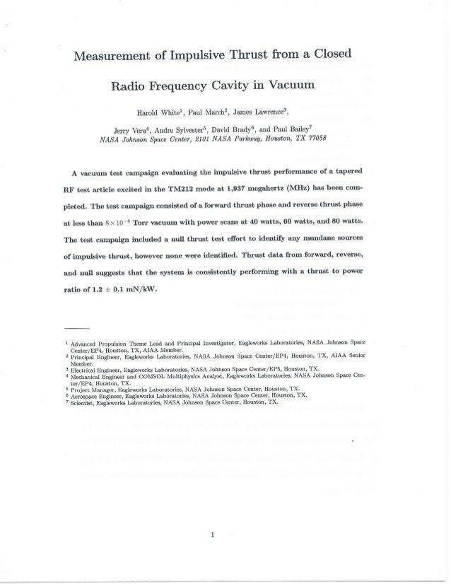 Отчёт НАСА с результатами тестов EmDrive
