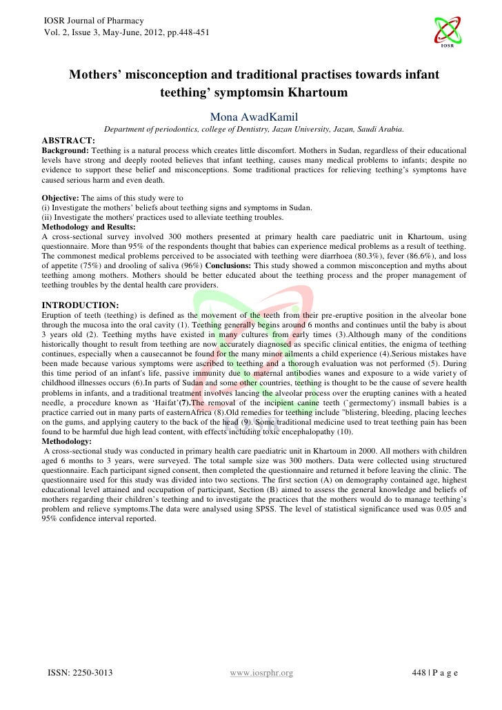 IOSR Journal of PharmacyVol. 2, Issue 3, May-June, 2012, pp.448-451        Mothers' misconception and traditional practise...