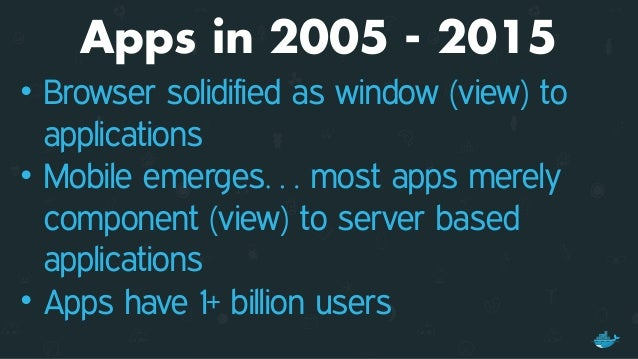 APPS IN 2005 - 2015 • Apps evolved to be composed of services • Distributed applications running on clusters • NoSQL & Clo...