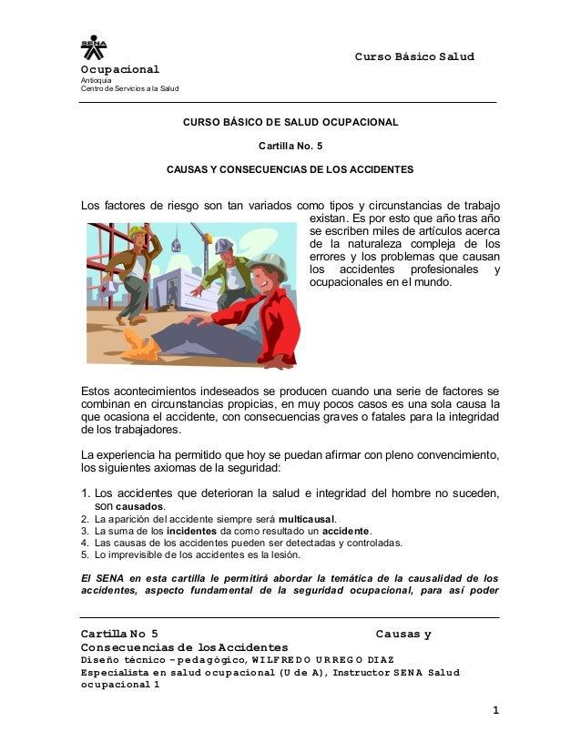 Curso Básico Salud Ocupacional Antioquia Centro de Servicios a la Salud CURSO BÁSICO DE SALUD OCUPACIONAL Cartilla No. 5 C...