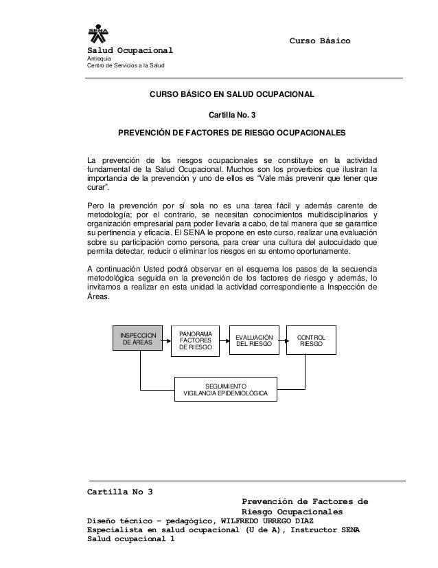 Curso Básico Salud Ocupacional Antioquia Centro de Servicios a la Salud Cartilla No 3 Prevención de Factores de Riesgo Ocu...
