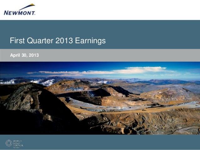 First Quarter 2013 EarningsApril 30, 2013