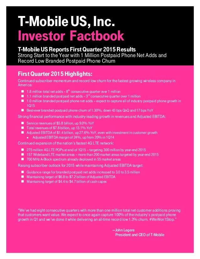 TMUS Q1 2015 Investor Factbok Slide 2