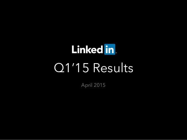 Q1'15 Results April 2015