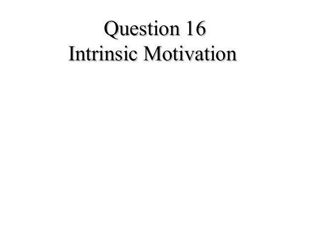 Question 16Question 16Intrinsic MotivationIntrinsic Motivation