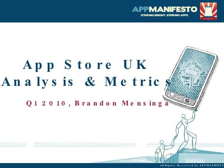 Q1 App Store UK  Analysis & Metrics Brandon Mensinga [email_address]
