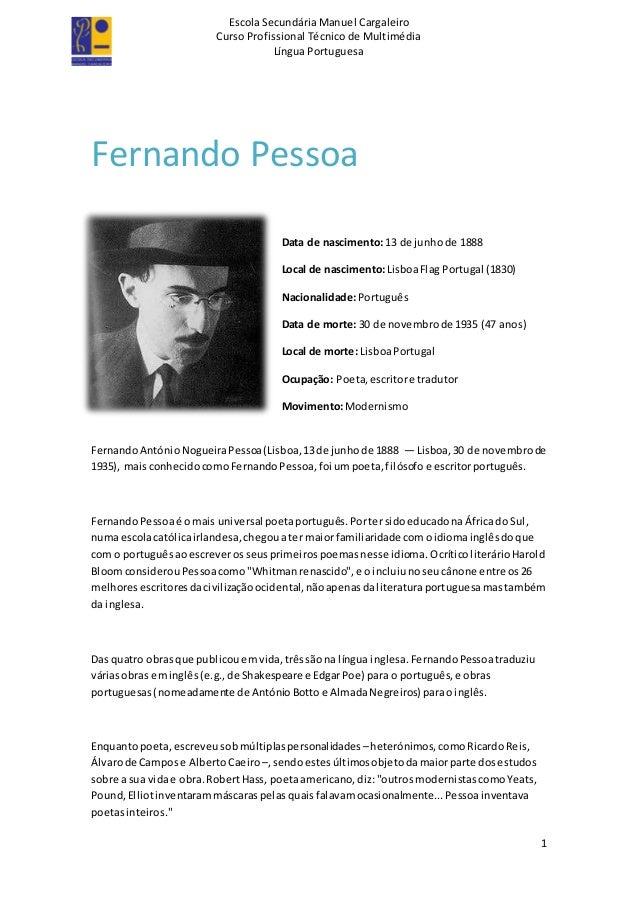 Escola Secundária Manuel Cargaleiro Curso Profissional Técnico de Multimédia Língua Portuguesa 1 Fernando Pessoa Data de n...