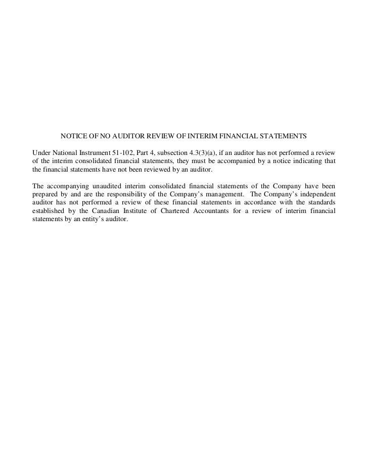 Q1 md&a & interim financial statements (pre merger) Slide 2