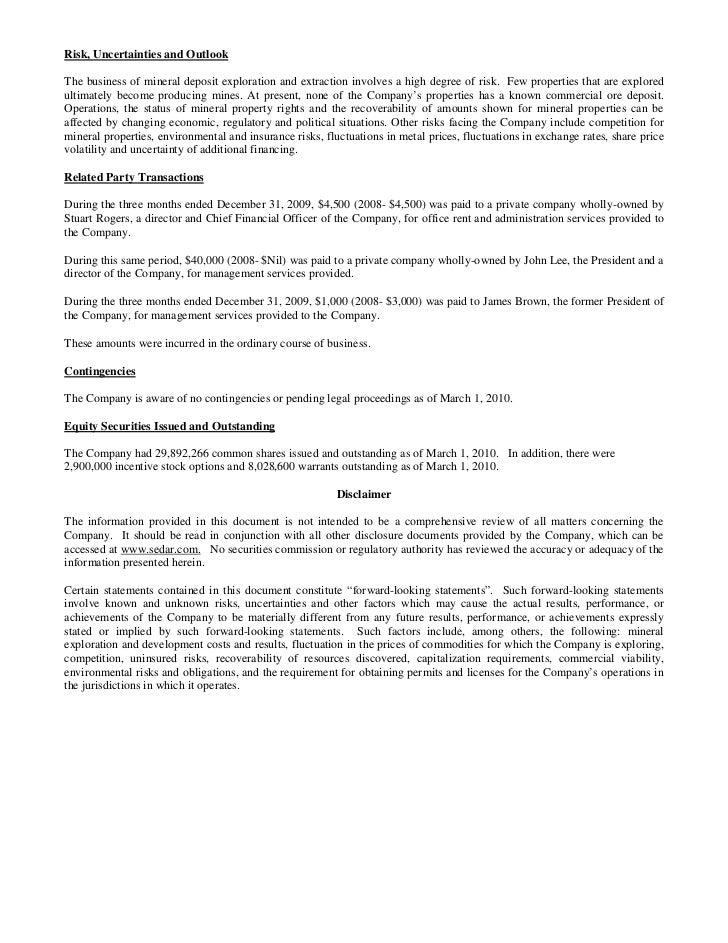 Q1 md&a & interim financial statements (pre merger)
