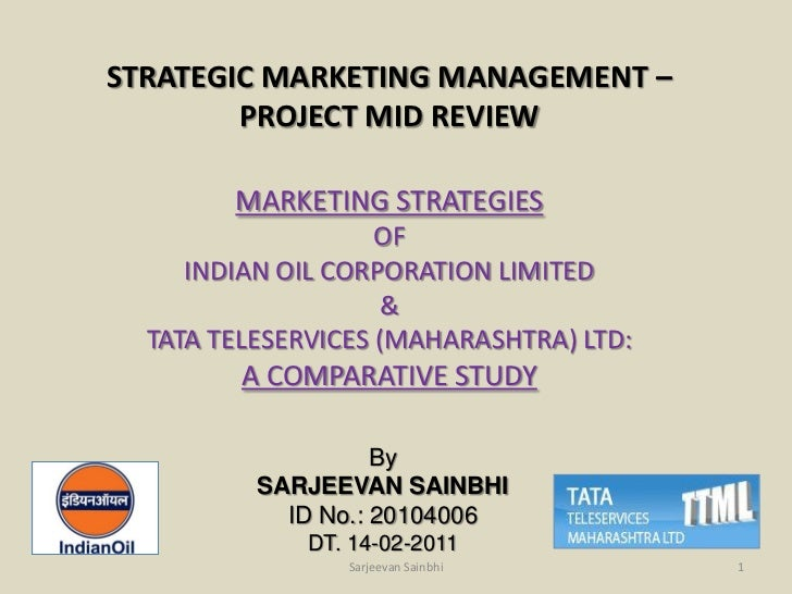 STRATEGIC MARKETING MANAGEMENT –        PROJECT MID REVIEW        MARKETING STRATEGIES                    OF     INDIAN OI...