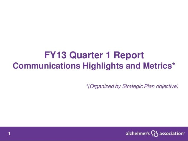 FY13 Quarter 1 Report    Communications Highlights and Metrics*                     *(Organized by Strategic Plan objectiv...