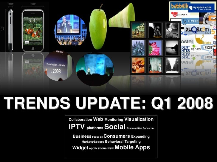 TRENDS UPDATE: Q1 2008       Collaboration Web Monitoring      Visualization       IPTV platforms Social              Comm...