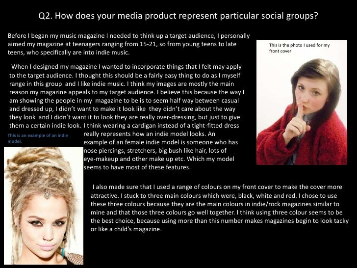 Q2. How does your media product represent particular social groups?Before I began my music magazine I needed to think up a...