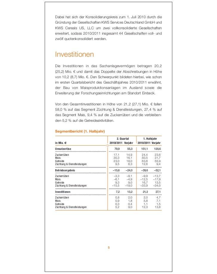 Dabei hat sich der Konsolidierungskreis zum 1. Juli 2010 durch dieGründung der Gesellschaften KWS Services Deutschland Gmb...