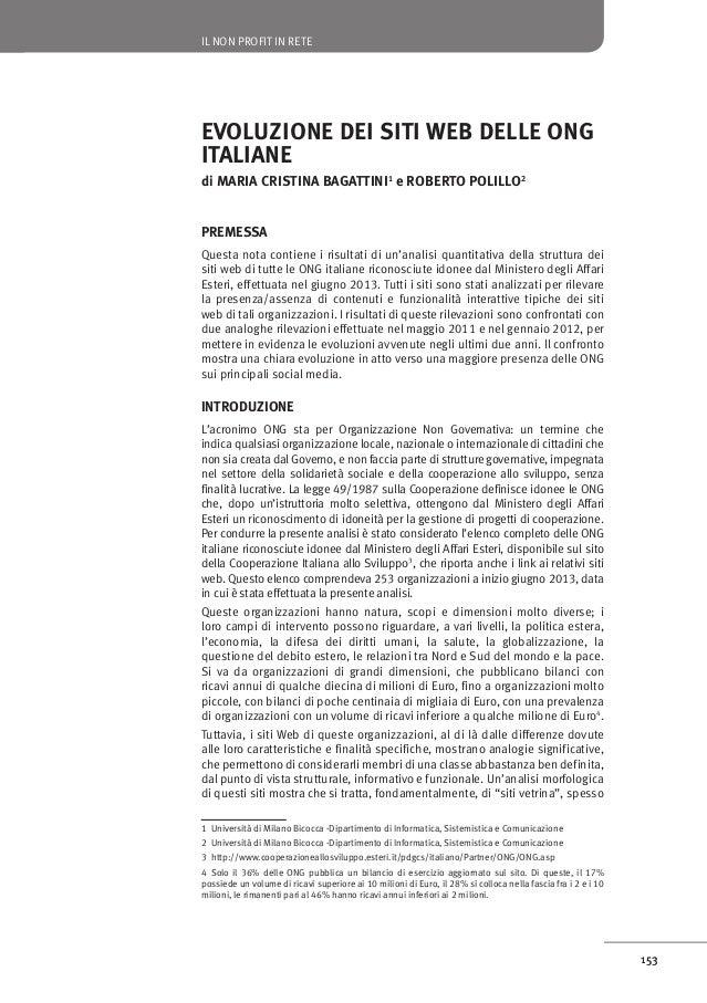 IL NON PROFIT IN RETE  EVOLUZIONE DEI SITI WEB DELLE ONG ITALIANE di MARIA CRISTINA BAGATTINI1 e ROBERTO POLILLO2 PREMESSA...