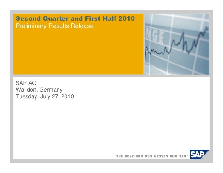 Second Quarter and First Half 2010Preliminary Results ReleaseSAP AGWalldorf, GermanyTuesday, July 27, 2010