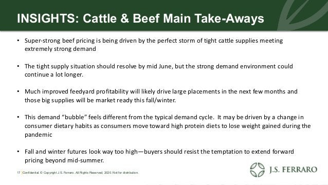 INSIGHTS: Cattle & Beef Main Take-Aways • Super-strong beef pricing is being driven by the perfect storm of tight cattle s...