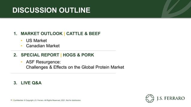 1. MARKET OUTLOOK | CATTLE & BEEF • US Market • Canadian Market 2. SPECIAL REPORT | HOGS & PORK • ASF Resurgence: Challeng...