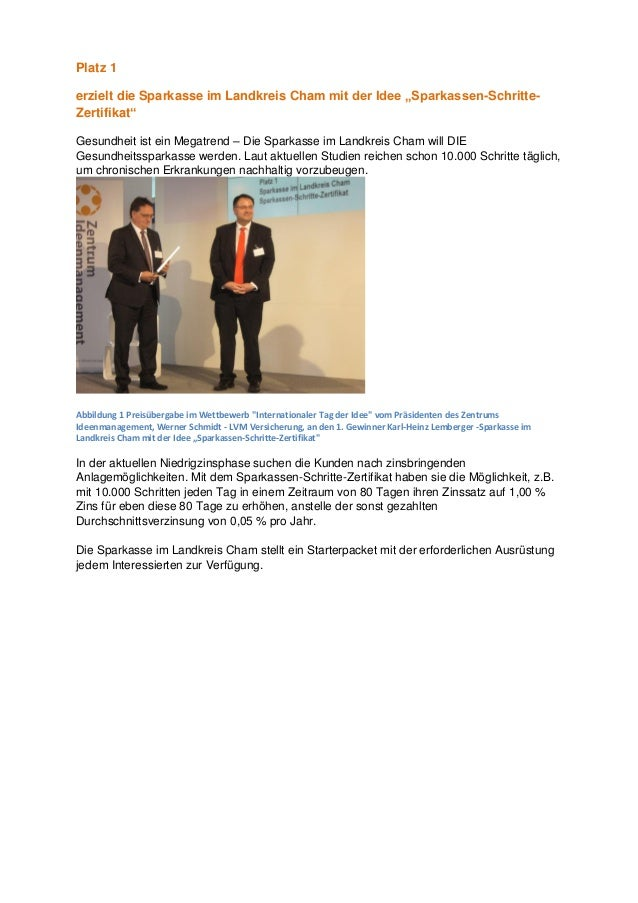 """Platz 1 erzielt die Sparkasse im Landkreis Cham mit der Idee """"Sparkassen-Schritte- Zertifikat"""" Gesundheit ist ein Megatren..."""