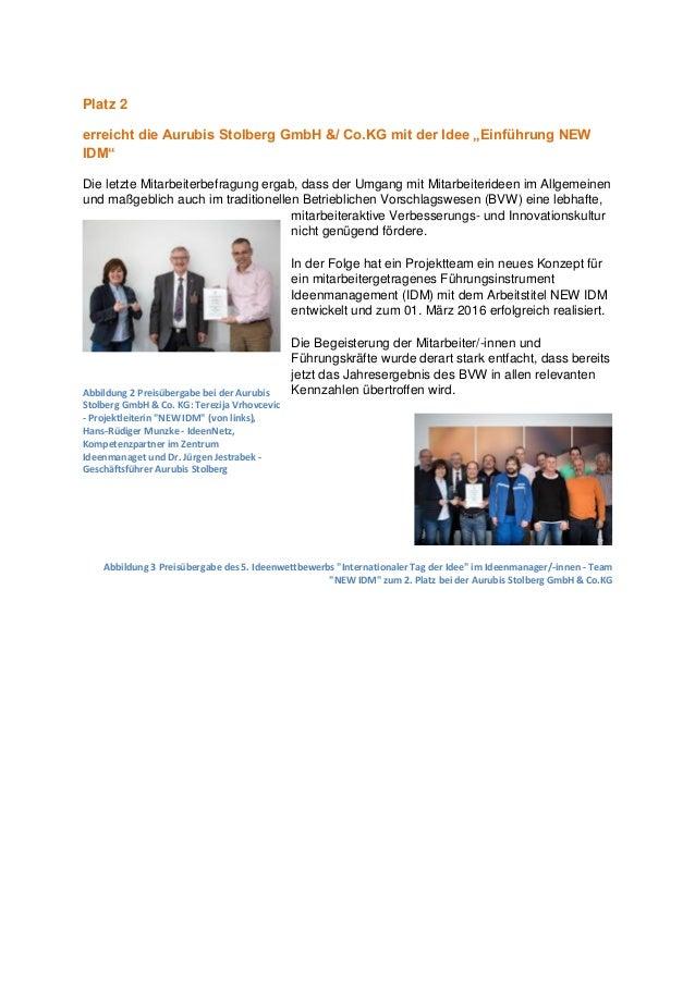 """Platz 2 erreicht die Aurubis Stolberg GmbH &/ Co.KG mit der Idee """"Einführung NEW IDM"""" Die letzte Mitarbeiterbefragung erga..."""