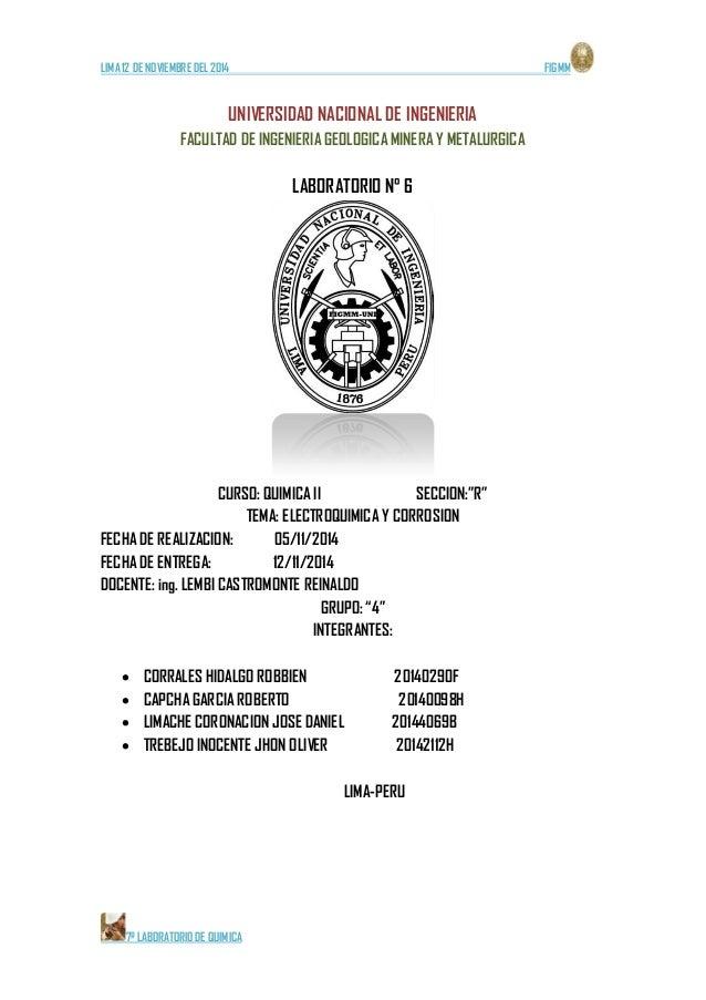 LIMA 12 DE NOVIEMBRE DEL 2014 FIGMM  7º LABORATORIO DE QUIMICA  UNIVERSIDAD NACIONAL DE INGENIERIA  FACULTAD DE INGENIERIA...