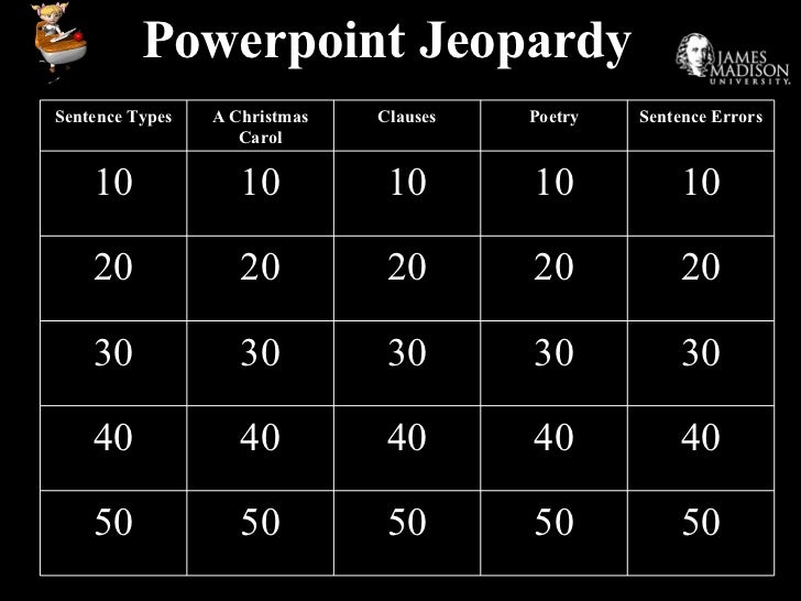 Powerpoint Jeopardy 50 50 50 50 50 40 40 40 40 40 30 30 30 30 30 20 20 20 20 20 10 10 10 10 10 Sentence Errors Poetry Clau...