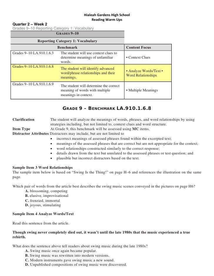 HialeahGardensHighSchool                                                   ReadingWarmUps Quarter 2 – Week 2 Grades...