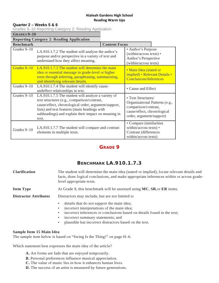 HialeahGardensHighSchool                                                   ReadingWarmUps Quarter 2 – Weeks 5 & 6 G...
