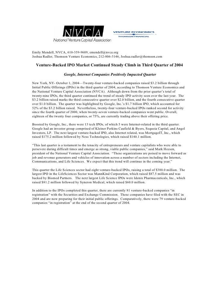 Emily Mendell, NVCA, 610-359-9609, emendell@nvca.org Joshua Radler, Thomson Venture Economics, 212-806-3146, Joshua.radler...