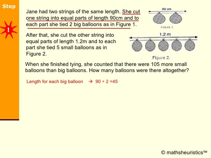 © mathsheuristics  After that, she cut the other string into equal parts of length 1.2m and to each part she tied 5 small...